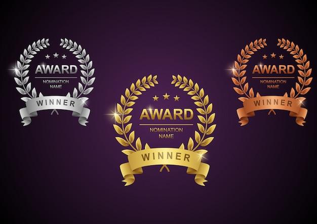 Conjunto de corona de laurel de oro, plata y bronce Vector Premium