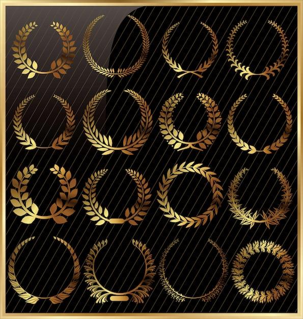 Conjunto de corona de laurel Vector Premium