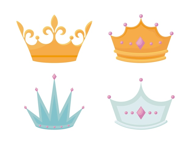 Conjunto corona monárquica con gemas. vector gratuito