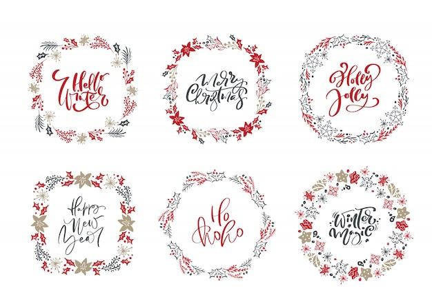 Conjunto de coronas escandinavas de navidad y textos vintage de vacaciones caligráficas Vector Premium