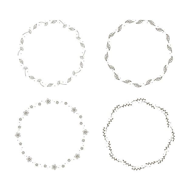 Conjunto de coronas florales simples. Vector Premium