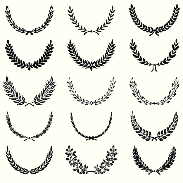 Conjunto de coronas de laurel vector gratuito