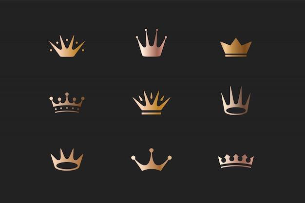 Conjunto de coronas de oro real, iconos y logotipos Vector Premium