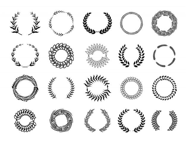 Conjunto de coronas de rama redonda griega vector gratuito