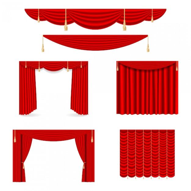 Conjunto de cortinas de seda roja con luces y sombras de lo abierto y cerrado. Vector Premium
