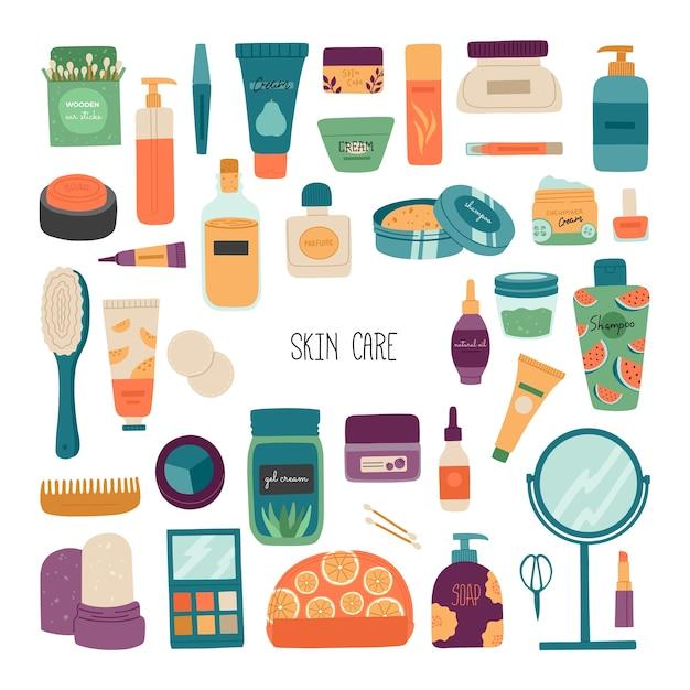 Un conjunto de cosméticos para el cuidado de la piel. Vector Premium