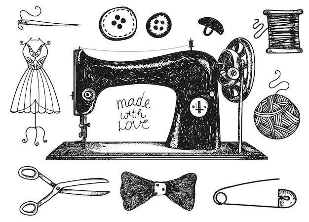 Conjunto de costura dibujada a mano, elementos vintage artesanales. hilo para coser, insumos y accesorios. ilustración en blanco y negro Vector Premium