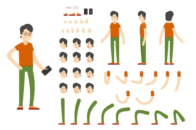 Conjunto de creación de personajes planos vector gratuito