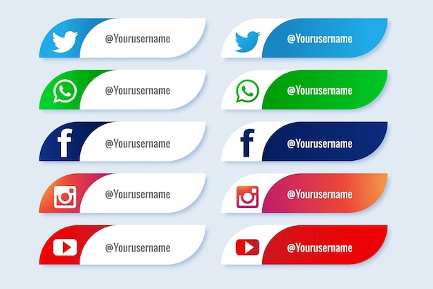 Conjunto creativo de iconos de terceros medios sociales populares vector gratuito