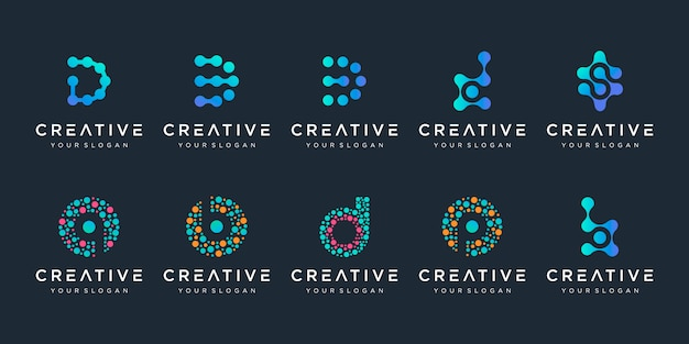 Conjunto de creativo letra d y b logo con estilo de punto. símbolo de chip de adn de átomo de molécula biotecnología colorido universal. este logotipo es adecuado para investigación, ciencia, medicina, logotipo, tecnología, laboratorio, Vector Premium