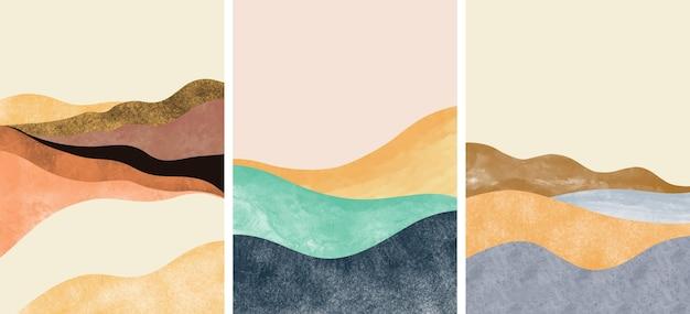 Conjunto de creativo minimalista pintado a mano. fondo de artes abstractas. Vector Premium