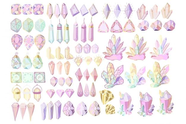 Conjunto de cristales Vector Premium