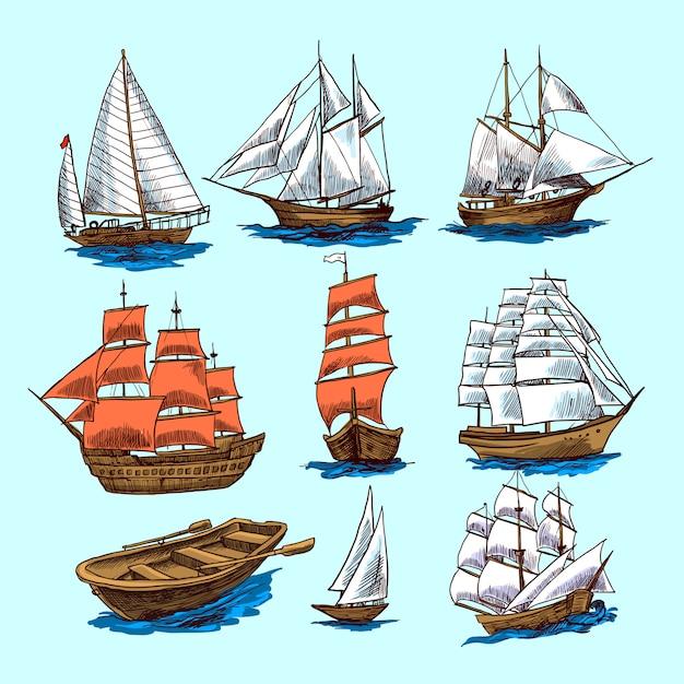 Conjunto de croquis de barcos y embarcaciones. vector gratuito