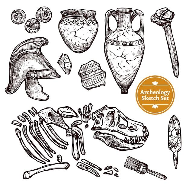 Conjunto de croquis dibujado a mano de arqueología vector gratuito