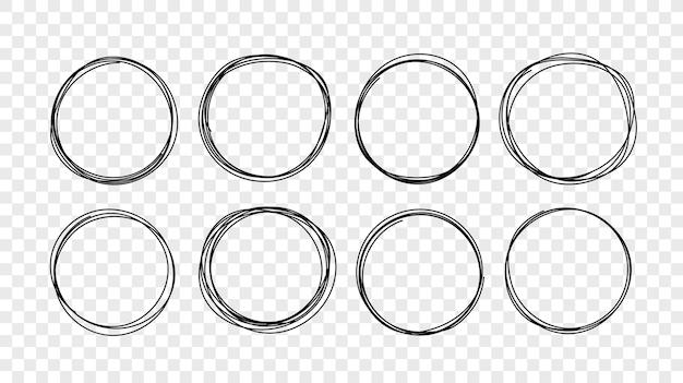 Conjunto de croquis de línea de círculo dibujado a mano. elementos circulares de garabatos Vector Premium