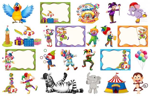 Conjunto de cuadro de circo. vector gratuito