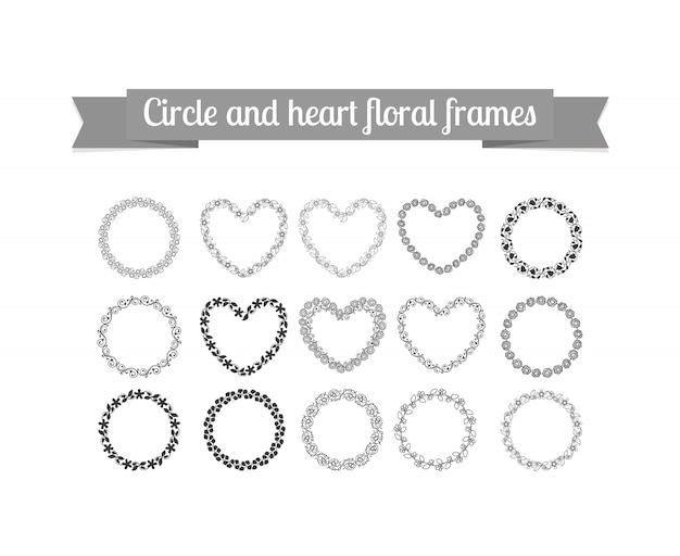 Conjunto de cuadros florales circulos y corazones Vector Premium
