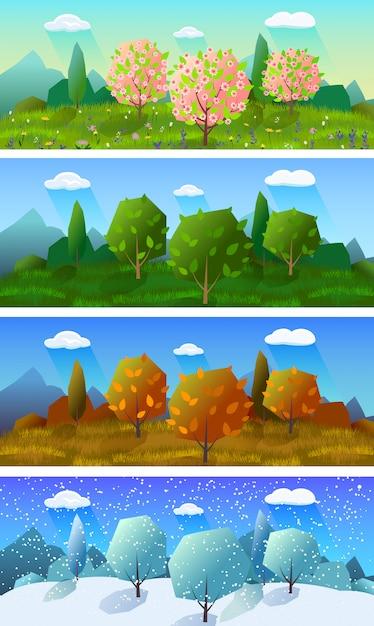 Conjunto de cuatro banderas de paisaje de estaciones vector gratuito