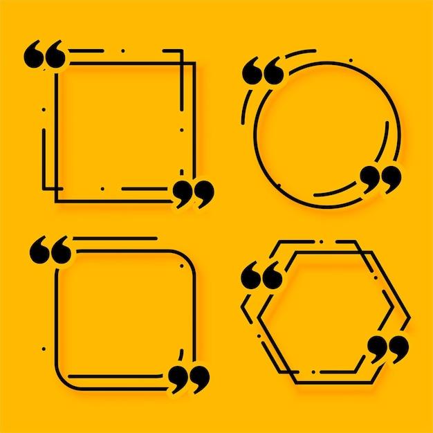 Conjunto de cuatro cajas de cotización de estilo de línea de memphis vector gratuito