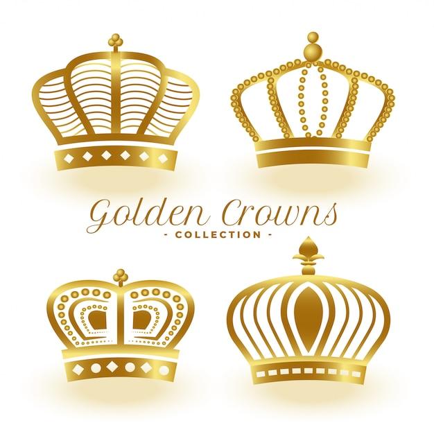 Conjunto de cuatro coronas reales doradas de lujo vector gratuito