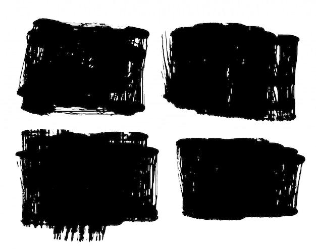 Conjunto de cuatro estilo sucio angustiado grunge negro vector gratuito