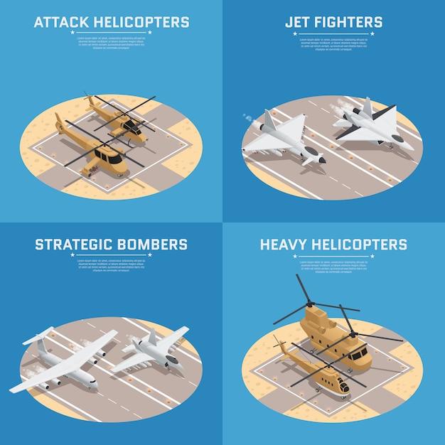 Conjunto de cuatro iconos isométricos de la fuerza aérea militar isométrica vector gratuito