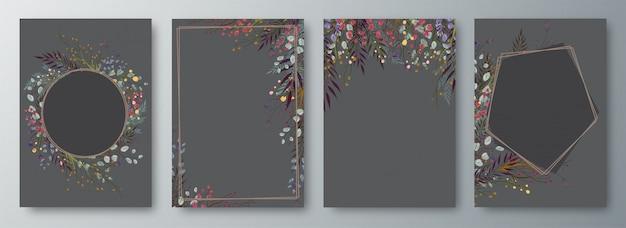 Conjunto de cuatro invitaciones o tarjetas de felicitación de diseño decoradas. Vector Premium