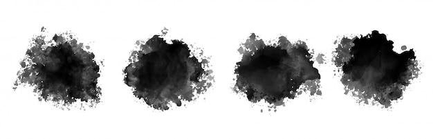 Conjunto de cuatro textura de salpicaduras de acuarela de tinta negra vector gratuito