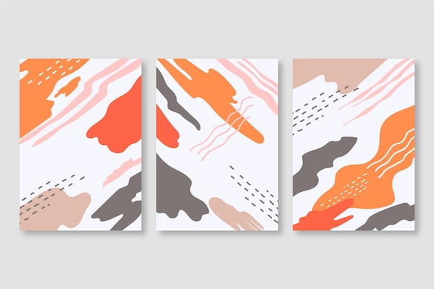 Conjunto de cubiertas de formas abstractas de acuarela Vector Premium