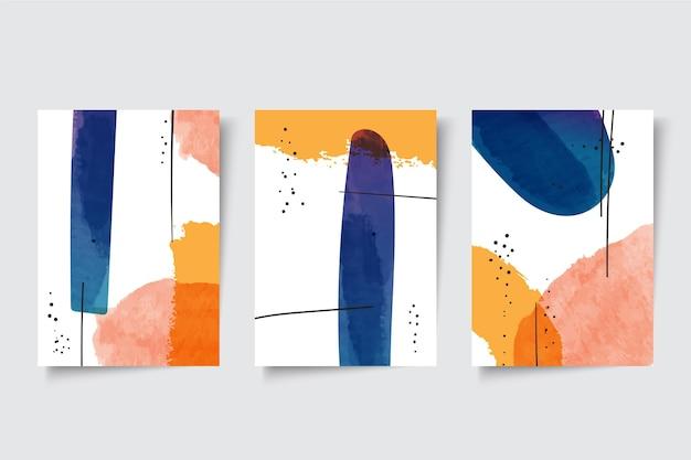 Conjunto de cubiertas de formas abstractas de acuarela vector gratuito