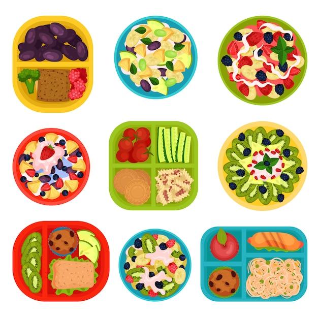 Conjunto de cuencos con ensaladas de frutas y loncheras con comida. alimentación saludable. sabrosos platos para el desayuno. Vector Premium