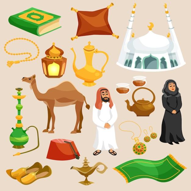 Conjunto de cultura árabe vector gratuito