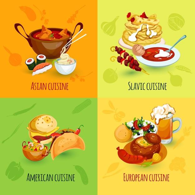 Conjunto de alimentos del mundo Vector Gratis