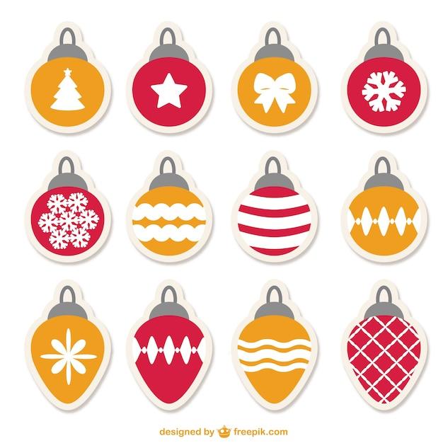 conjunto de bolas de navidad vector gratis