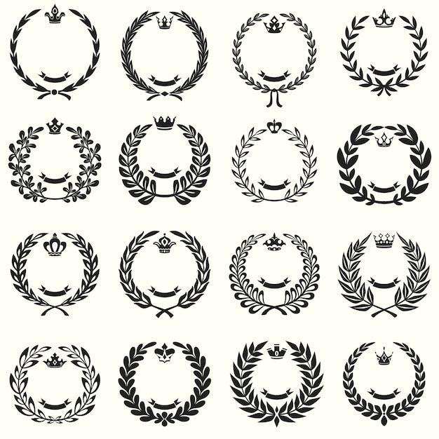 Conjunto de coronas de laurel Vector Gratis