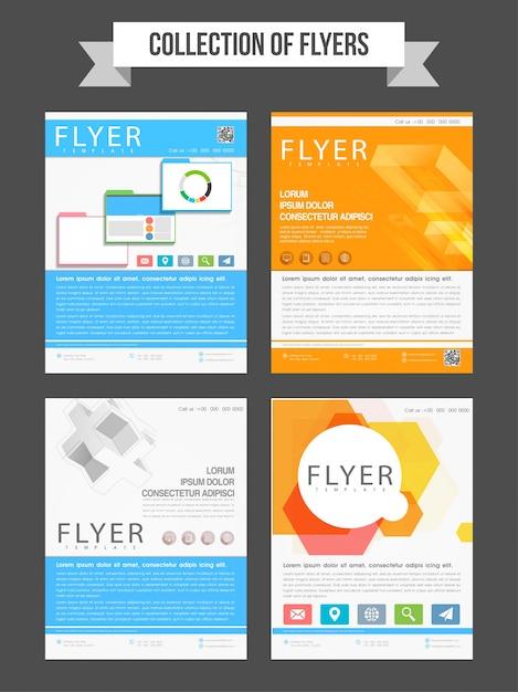 Conjunto de cuatro folletos profesionales o plantillas de diseño ...