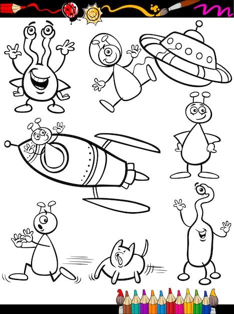 Conjunto de dibujos animados alienígenas para colorear | Descargar ...