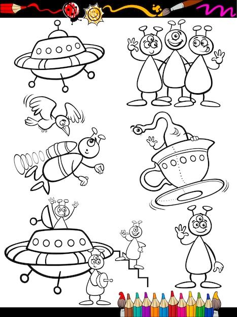 Conjunto de dibujos animados alienígenas para colorear   Descargar ...