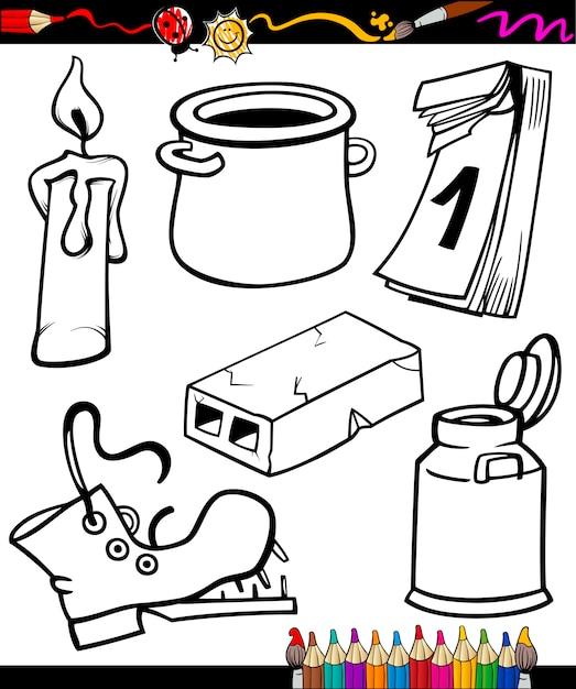 Conjunto de dibujos animados de objetos para colorear libro ...
