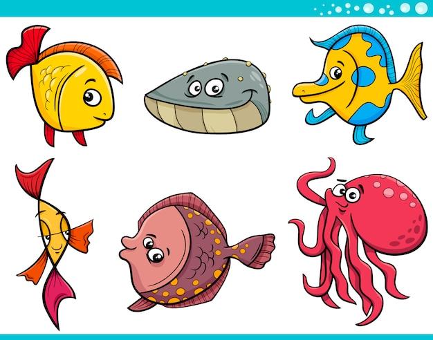 Conjunto De Dibujos Animados De Peces De Vida Marina