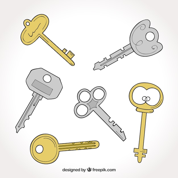 Conjunto de diferentes tipos de llaves descargar for Tipos de llaves de puertas