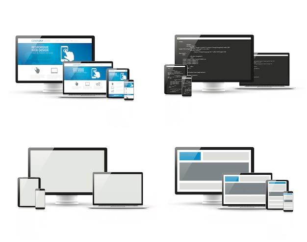 Conjunto de diseño web receptivo y conceptos de desarrollo de ...