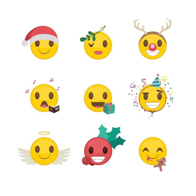 Conjunto de divertidos emoticonos de navidad / año nuevo | Descargar ...