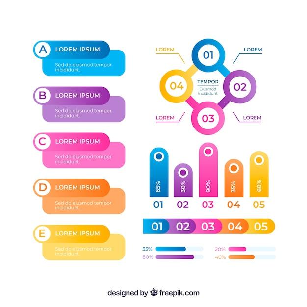 Conjunto de elementos de infografía en diferentes colores Vector Gratis