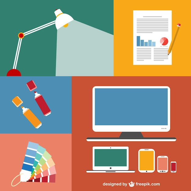 Conjunto de elementos de oficina planos descargar for Elementos para oficina