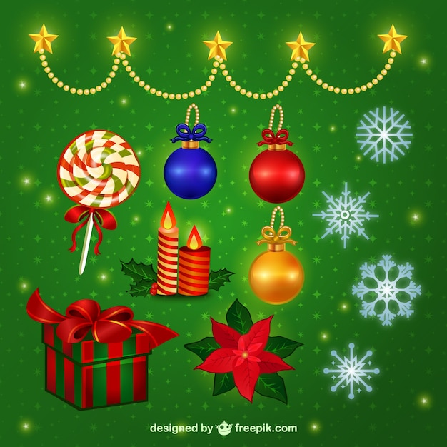 Conjunto de elementos decorativos de navidad descargar - Decorativos de navidad ...