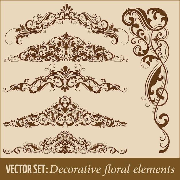 Conjunto de elementos florales decorativos dibujados a mano para el diseño. Elemento de la decoración de la página. Vector Gratis