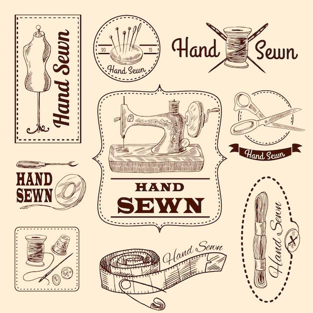 Conjunto de emblemas de costura Vector Gratis