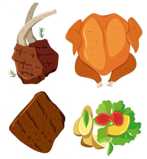 Conjunto de estacas y ensalada de carne | Descargar Vectores Premium