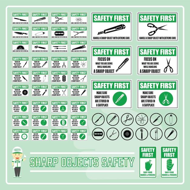 Conjunto de etiquetas y signos de seguridad para objetos afilados ...